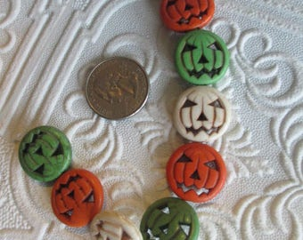 1 strand PUMPKIN BEADS   - Imitation Stone 20x5x6mm Halloween - 9 beads
