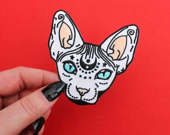 "Mystical Sphynx Cat, Iron on Patch -  3"" - Embroidered Cat Patch - hairless cat - cat gift - sphynx cat - magical cat - flair - cat patch"