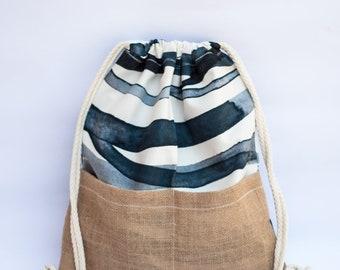 Handmade canvas-jute drawstring backpack