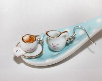 Tea Party Earrings - Marie Antoinette Earrings - Mini Food Earrings - Dollhouse tableware Earrings