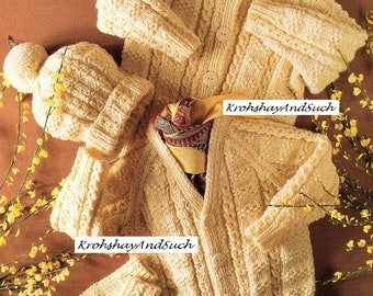 Aran Cardigans, Hat And Mittens, Knitting Pattern. PDF Instant Download.