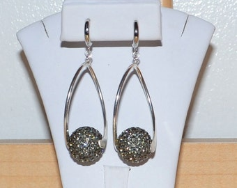 14mm Gray Grey Pave Crystal Rhinestone Disco Ball and Silver Curved Bar Earrings