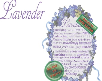 Lavender Iron-on Transfer Printable Digital Art Decal Typography Sign Aromatherapy Infographic T Shirt Design Violets Purple Flowers Ribbons