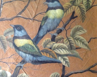 Unusual painting with 2 birds painted on leafs.