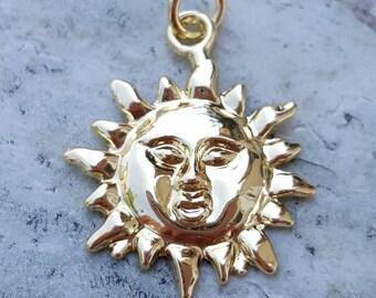 14k gold charm etsy beautiful 14k gold sun sunburst pendant charm gold sun pendant celestial jewelry gold aloadofball Gallery