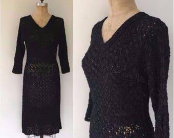 Vintage 50s rayon ribbon crochet dress, black ribbon crochet dress, 50s wiggle dress