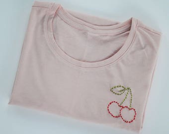 Red Cherry Embroidered Women's Pale Pastel Pink Tshirt, Hand Embroidered, Cotton Tee