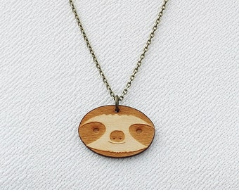 Laser Cut Wooden Sloth Necklace