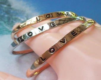 SALE 3 Cuff Bracelet Set, silver cuff, gold cuff, love, stamped cuff, rose gold, silver bracelet, gold bracelet, stainless steel