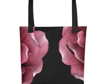 "15x15"" Tote bag school bag shopping bag gift bag reusable carryall weather resistant durable art pink black flowers"
