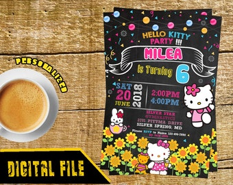 Hello Kitty Invitation, Hello Kitty Birthday Party, Hello Kitty Party, Hello Kitty Birthday, Hello Kitty Printable, Hello Kitty-SL194