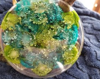 "Spring in bloom ""petri supernova"" resin art coaster/paperweight"