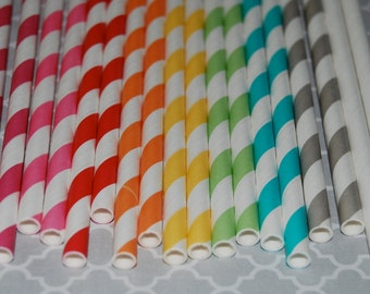 """25 extra long soda bottle  stripe paper straws -  YOU PICK COLORS -  with free blank Flags.  See also - """"Personalized"""" flags option."""