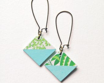 Earrings sleepers, exotic earrings, ethnic earrings, jewelry, geometric, pastel blue, exotic