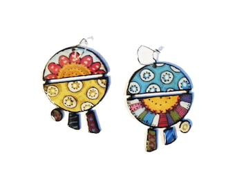Summer Colourful earrings - Handmade colourful Mediterranean earrings -Summer pair of earrings