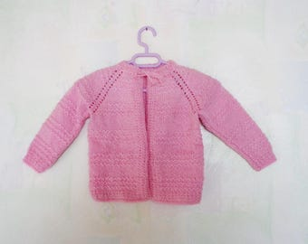 Vintage Hand knitted Children Cardigan - Pink Cardigan - Hand knitted Sweater for Baby Girl - Baby Girl Pink Cardigan