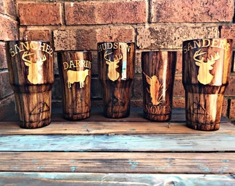 Wood grain tumbler, deer head, hunter, manly tumbler, Man gift, husband gift, anniversary gift, birthday gift, groomsman gift, wedding gift.