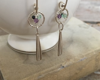 Interchangeable Elongated Tear Drop Earrings in Sterling Silver with Colombian Emerald, Black Spinel and AAA Amethyst