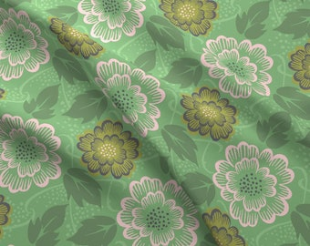 Retro Floral Fabric - Vintage Floral - Mint, Large Scale By Studiojenny - Retro Vintage Flowers Cotton Fabric By The Yard With Spoonflower