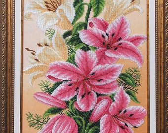 Gorgeous Flowers bead embroidery kit, embroidered beaded painting set, DIY wall decor, office decor, housewarming, Needlework Neadpoint