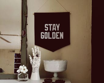 Stay Golden Banner, Flag, Wall Hanging, Pennant