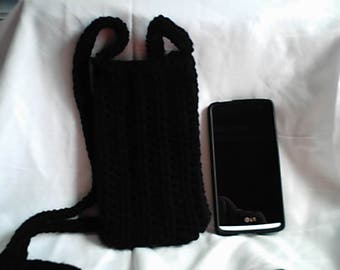 Crochet Black Cross Body Cell Phone Pouch