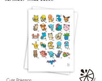 Cute Pokemon Alphabet Print Room Decor