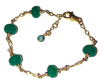Gold Bracelet with Green Chalcedony