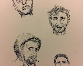 Vintage Look Pen Drawing Raggedy Men