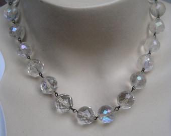 Antique Aurora Borealis Crystal Necklace