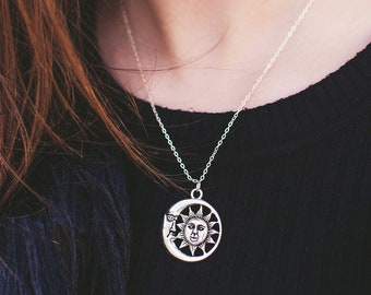 Silver Sun and Moon Necklace