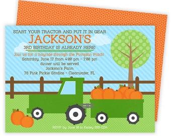 Tractor Birthday Invitation, Tractor Birthday Invite, Tractor Invitation, Pumpkin Invitation, Farm Invitation, Pumpkin Patch Invite | 77