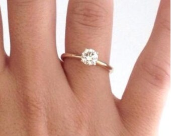1 carat Forever One Moissanite Engagement Ring, Charles and Colvard Moissanite, 14k Engagement Ring, Diamond Ring, Round Brilliant