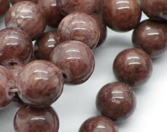 48-50 jade 8 mm round jaspe Café au lait beige pink taupe