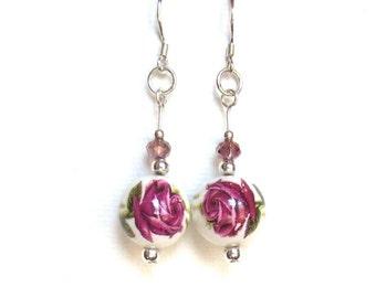 Rose Pink Earrings/ Blooming Rose Crystal Dangle Earrings/925 Sterling Silver Earrings/Ceramic Bead Earrings/Dressy Flower Earrings
