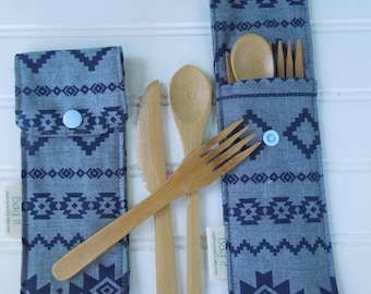 Reusable bamboo cutlery and carrying pouch  - Picnic cutlery case - Flatware pouch - Bamboo cutlery - Waste free lunch - Aztec on indigo