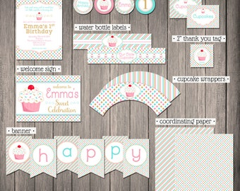 Little Cupcake MINI Printable Party Collection (partial instant download) | 1st Birthday | Sweet Celebration