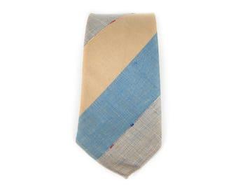 "Vintage Necktie / 3.25"" Handmade Tie / Tan and Blue Necktie / Boys Mens Tie / Mens Neckties / Guys Necktie Gifts for Guys / Unique Necktie"