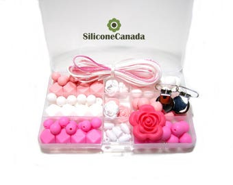 DIY Silicone Teething Necklace Kit - Shades of Delicate Pink, Snow White, Pink - Food Grade Silicone Deluxe Kit, Free Storage Case Included