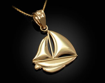 Polished Gold Sail Boat Pendant Necklace (10K, 14K, yellow, white, rose gold)