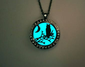 Glow In The Dark Owl and Moon Necklace, Bird Necklace, Owl Gifts, Owl Jewelry,  Gifts For Her, Christmas Gift, Birthday Gift