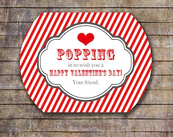 Printable Popcorn Kids Valentine Treat Bag