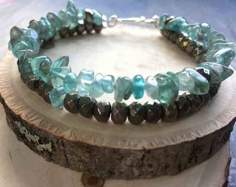 LifeBoho - Apatite Pyrite Double Strand Bracelet, Apatite Nugget Faceted Pyrite Bracelet, Sterling Silver, FREE SHIPPING