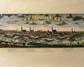 Hannover II - Germany - Cm. 69 x 32 Inches 27,2 x 12,6 - Printed on high quality paper and water-coloured by hand. Since 1930s