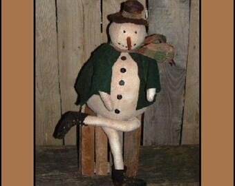 Primitive Folk Art Snowman coat hat instant download epattern OFG HAFAIR faap484
