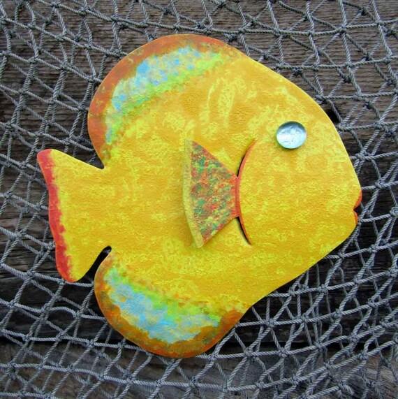 Bathroom Art Metal Wall Art Fish Sculpture Recycled Metal Beach House Coastal Bathroom Decor Yellow Orange 7 x 7
