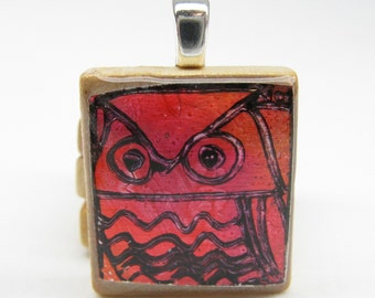 Red Owl - Glowing metallic Scrabble tile pendant