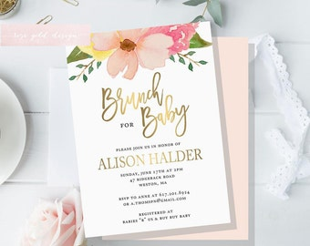Floral Baby Shower Invitation, Brunch For Baby Invitation, baby shower invites, boho baby shower, pink and gold Floral invitation, gold foil