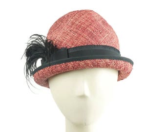 Straw Hat for Women, Summer Hat, Trilby Hat, Panama Hat, Vintage Hat Style, Stingy Brim Hat, Pink Hat, Retro Style Hat, Wedding Hat