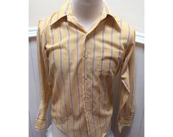 Vintage 1970s Yellow Striped Men's Shirt- M